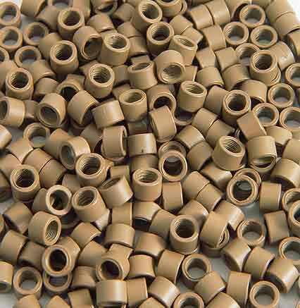 250 PCS 4 mm Light Brown Color Screw Thread Micro Ring Beads Locks for I Tip Stick Feather Human Hair Extensions ()
