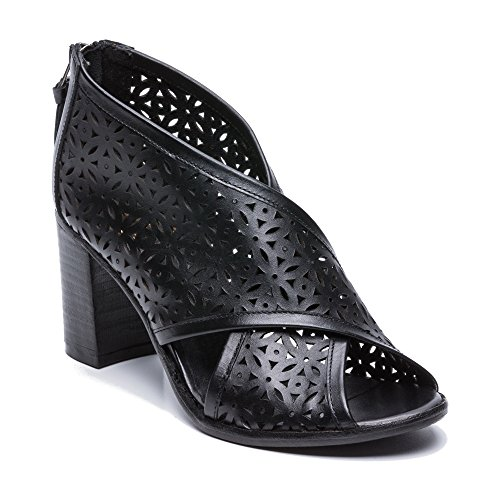 Été Cuir Bottine Zerimar Bottines Sandales Noir En Femme Femmes Pour Bottes Ouvertes vU7ttw0q4