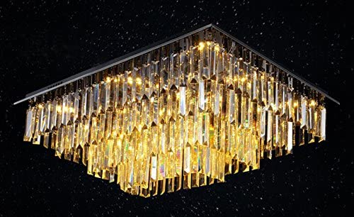7PM W32″ x D24″ Modern Vertical Bar Rectangle Clear K9 Crystal Chandelier Ceiling Lamp Lighting Fixture 15 Light