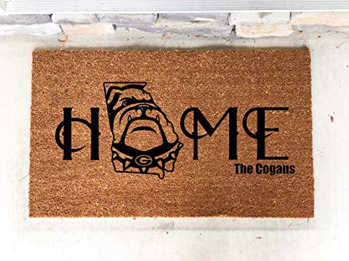 Personalized GA Door Mat, Go Dawgs, University of Georgia, UGA Mat, House Warming GA Gift, Georgia Football,