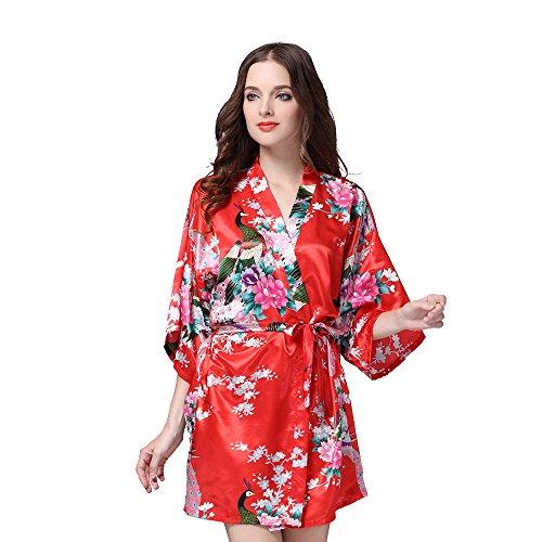 Deksias Women s Kimono Robe Satin Short Printing Peacock Short Sleeve  Wedding Silk Bridal Robe - Buy Online in UAE.  3854cc339