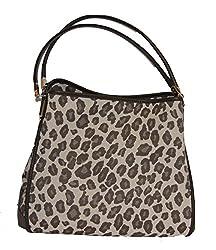 Coach Small Phoebe Shoulder Bag in Fabric (Op Art Sateen Black)