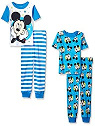 Disney Boys' Toddler Boys' Mickey Mouse 4-Piece Cotton Pajama Set, Blue, 2T
