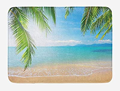 Tropical Bath Mat, Idyllic Thailand Relaxation Holiday Coast Paradise Vacation Image, Plush Bathroom Decor Mat with Non Slip Backing, 23.6 W X 15.7 W Inches, Turquoise Green Sand Brown