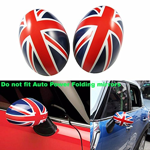 (Xotic Tech Union Jack Manual Side Mirror Covers Caps for Mini Cooper Driver/Passenger Side )