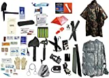 2 Person Supply 5 Day Emergency Bug Out S.O.S. Food Rations, Drinking Water, LifeStraw Personal Filter, First Aid Kit, Tent, Blanket, ACU Backpack, Camo Poncho + Essential 21 Piece Survival Gear Set