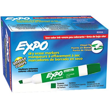 Expo Low-Odor Dry Erase Markers, Chisel Tip, Green, 12-Count