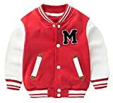 EMAOR Little Baby Boys Girls Varsity Baseball Jacket School Outwear Sweatershirt