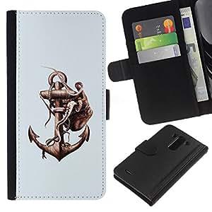 LECELL--Cuero de la tarjeta la carpeta del tirón Smartphone Slots Protección Holder For LG G3 -- Pulpo & Anchor --