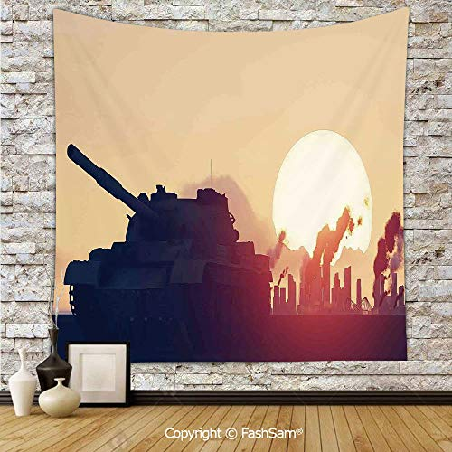 - Tapestry Wall Blanket Wall Decor Tank and Ruined Skyscrapers Landscape at Sunset Flames and Smokes in City Home Decorations for Bedroom(W51xL59)
