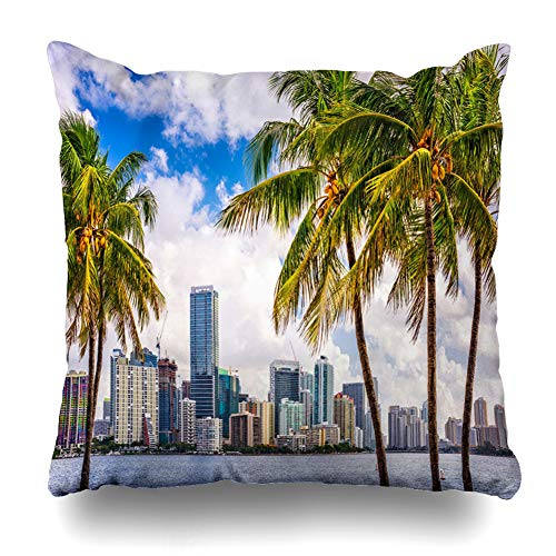 AlliuCoo Throw Pillow Covers Biscayne Beach Miami Florida USA Tropical Downtown Skyline Cityscape Parks Palm City Tree South Home Decor Zippered Cushion Case Square Size 16