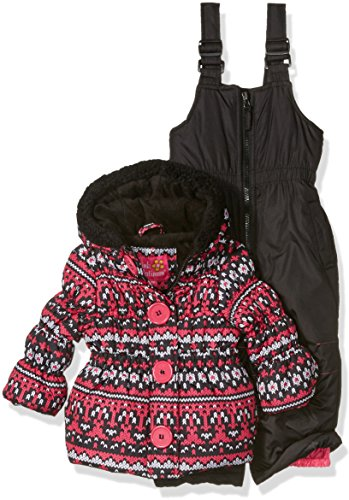 Pink Platinum Baby Girls' Infant Fair Isle Print Snowsuit, Black, 18 Months