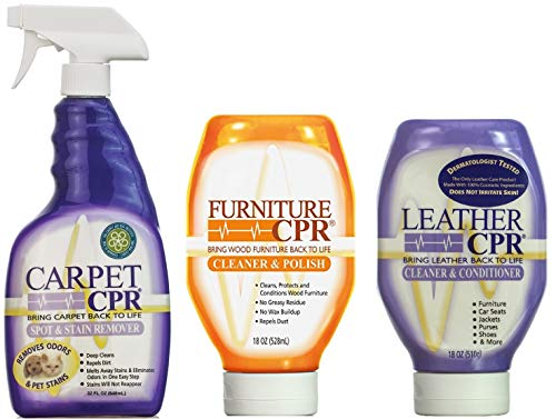 Leather CPR - Carpet CPR - Furniture CPR - Cleaning Variety Pack - Clean & Condition Leather, Treat Carpet Stains, and Spruce Up Your Wood Furniture with This 3-in-1 Savings
