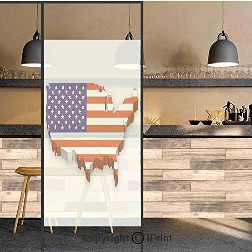 3D Decorative Privacy Window Films,America Continent Figure with National Flag Symbol Glory Country Design Decorative,No-Glue Self Static Cling Glass film for Home Bedroom Bathroom Kitchen Office 17.5 ()