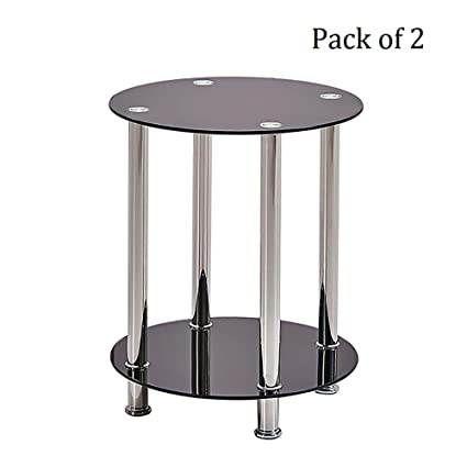 Brilliant Huisen Furniture Pair Modern Living Room Side End Table With Storage Small Beside Sofa Couch Coffee Tea Round Table Black Tempered Glass 2 Tiers For Squirreltailoven Fun Painted Chair Ideas Images Squirreltailovenorg