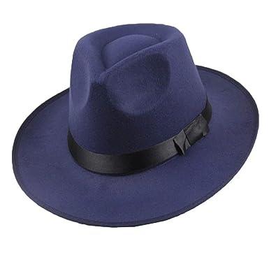 HaiDean Gorros Vintage Hombres Mujeres Fieltro Duro Sombrero De ...