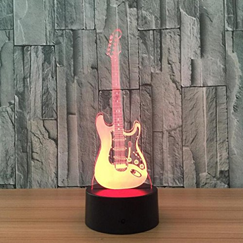 CARYY 3D LED Illusion Lamp, 7 Colors Remote Control Dimensional Visual Guitar Light, Optical Night Lights, Decoration Atmosphere Table Lamps, Children Christmas Birthday Gifts ()