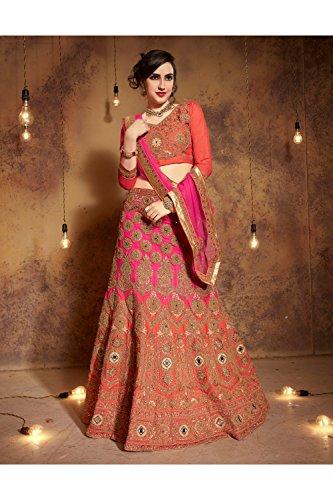 Women Partywear Lehenga Ethnic Designer Indian Da and Orange Choli Facioun Traditional Pink q1xfEnwgA