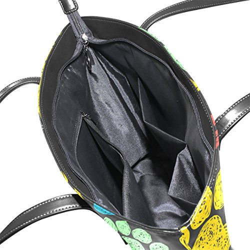 COOSUN bunte Tatze druckt Muster PU-Leder-Schulter-Beutel-Geldbeutel und Handtaschen-Einkaufstasche für Frauen