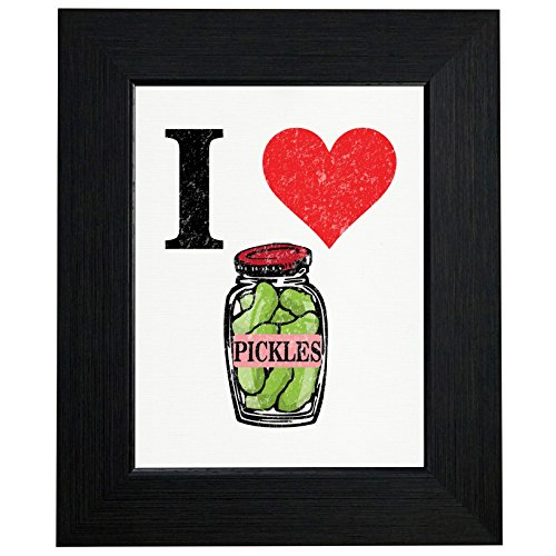 Heart Pickles - I Love Pickles Jar with Big Red Heart Framed Print Poster Wall or Desk Mount Options