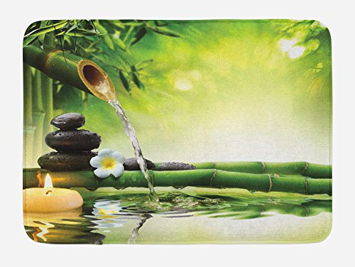 at, Meditation and Zen Picture of Bamboo Stalks Candle and Basalt Stones Theraphy Relaxing, Plush Bathroom Decor Mat with Non Slip Backing, 29.5 W X 17.5 W Inches, Multicolor (Zen Bath)