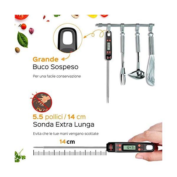 """Habor Termometro Cucina, 5S Lettura Istantanea, 5.5"""" Sonda Lunga, Termometro da Cucina Digitale per Carne Vino BBQ Latte Olio Alimenti Acqua del Bagno 4"""