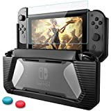 Nintendo Switch Case with Screen Protector,HEYSTOP TPU Protective Heavy Duty Cover Case Tempered Glass Screen Protector w/ 2 Thumb Grips Caps for Nintendo Switch