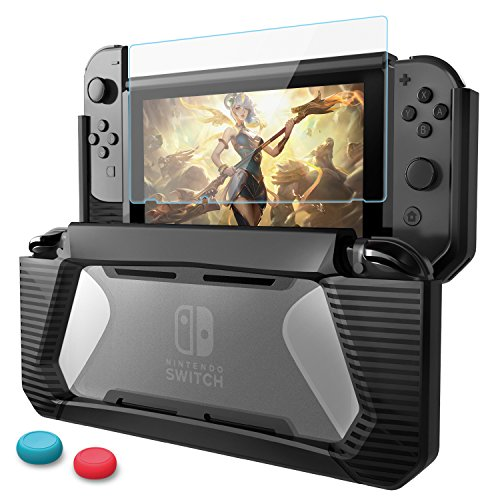 Nintendo Switch Case with Screen Protector,AISITIN TPU Protective Heavy Duty Cover Case for Nintendo Switch with Shock-Absorption and Anti-Scratch (Black)