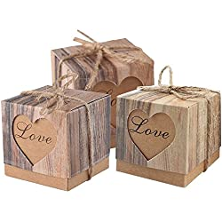 Lontenrea 50pcs Candy Favor Boxes Vintage Kraft Candy Gift Box 50pcs Burlap Twine Wedding Birthday Party Decorate