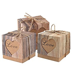 Lontenrea 50pcs Candy Favor Boxes Vintage Kraft Candy Gift Box with 50pcs Burlap Twine for Wedding Birthday Party Decorate