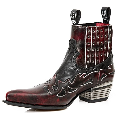 Black Rock New Leather Black Red Boots XgxX07Fwdq
