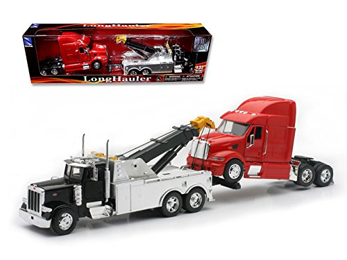 New Ray Peterbilt 379 Tow Truck Black with Red Peterbilt Tractor Set 1/32 Diecast Model 12053