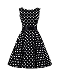 Kisstyle Womens Retro Sleeveless 50s Polka Dot Swing Dress As Picture