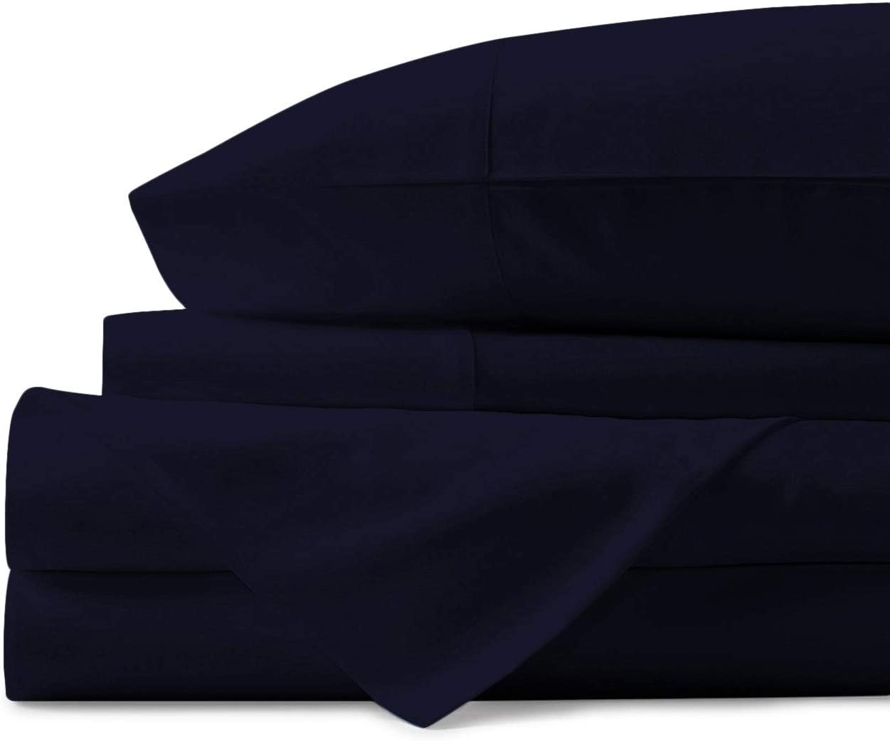Mayfair Linen 100% Egyptian Cotton Sheets, Navy Blue Twin Sheets Set, 600 Thread Count Long Staple Cotton, Sateen Weave for Soft and Silky Feel, Fits Mattress Upto 18'' DEEP Pocket