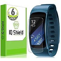Protector de pantalla Samsung Gear Fit2, protector de pantalla de cobertura total IQ Shield LiQuidSkin (paquete de 6) para Samsung Gear Fit2 (Gear Fit 2) Película transparente anti-burbujas HD - con