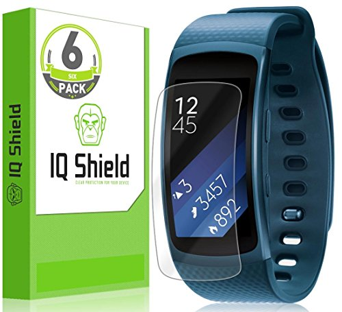 Samsung Gear Fit2 Screen Protector - IQ Shield LiQuidSkin (6-Pack) Full Coverage Screen Protector for Samsung Gear Fit2 (Gear Fit 2) HD Clear Anti-Bubble Film - with