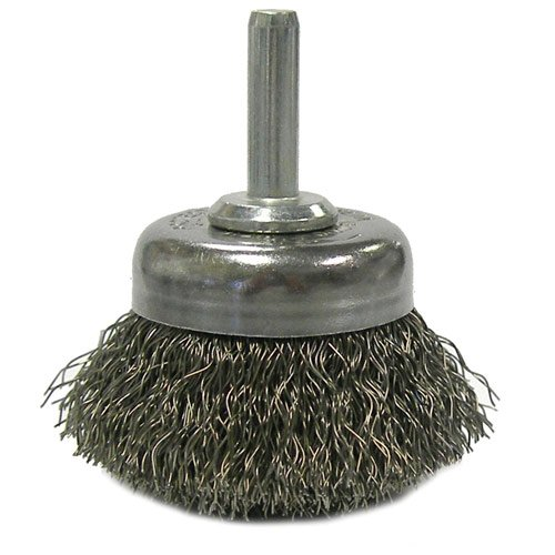 "Weiler 804-14301 Stem Mounted Crimped Wire Cup Brush, Steel, 1-3/4"", 0.0118"", 13000 rpm"