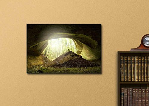 Big Cave with Explorer Standing at The Entrance Home Deoration Wall Decor