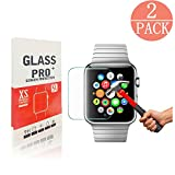 [2 Pack] Apple Watch 42mm Tempered Glass Screen Protector, supertima [Only cover flat area][9H Hardness][Scratch Resistant][Anti-Fingerprint][Anti-Bubble] screen protector for Apple Watch 42mm