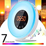 Lorretta Wake Up Light Sunrise Simulation Digital Alarm Clock with 7 Color LED Light 6 Natural Sound FM Radio Snooze Function Touch Control for Bedroom Bedside Kids Heavy Sleepers