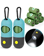 Dog Poop Bags Holder with LED Flashlight, 2pcs Puppy Pickup Bags Dispenser with Carabiner Clip & 6 Rolls Pet Waste Bags for Lead Leash,Diaper Bags Distributor for Cradle Car