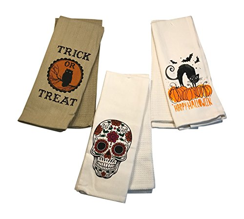 Halloween Kitchen Towels Set Featuring Sugar Skull Day of the Dead, Pumpkin Happy Halloween, and Spooky Trick or Treat Towels-Set of -