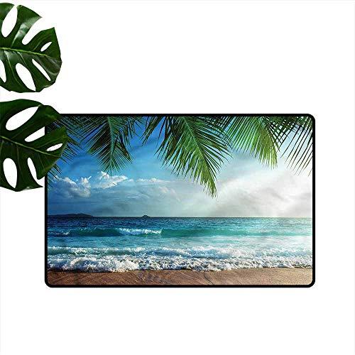 Outdoor Door mat Ocean Tropic Hawaiian Palms All Season General W24 - Tropic Rug Multi Stripes Ocean