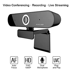 Webcam-FUVISION Auto Focus Webcam 1080P, Digital Web Camera with Microphone for Video Conferencing,Recording and Streaming,90 Degree Extended View,Live Stream Camera for PC,Laptop and Desktop