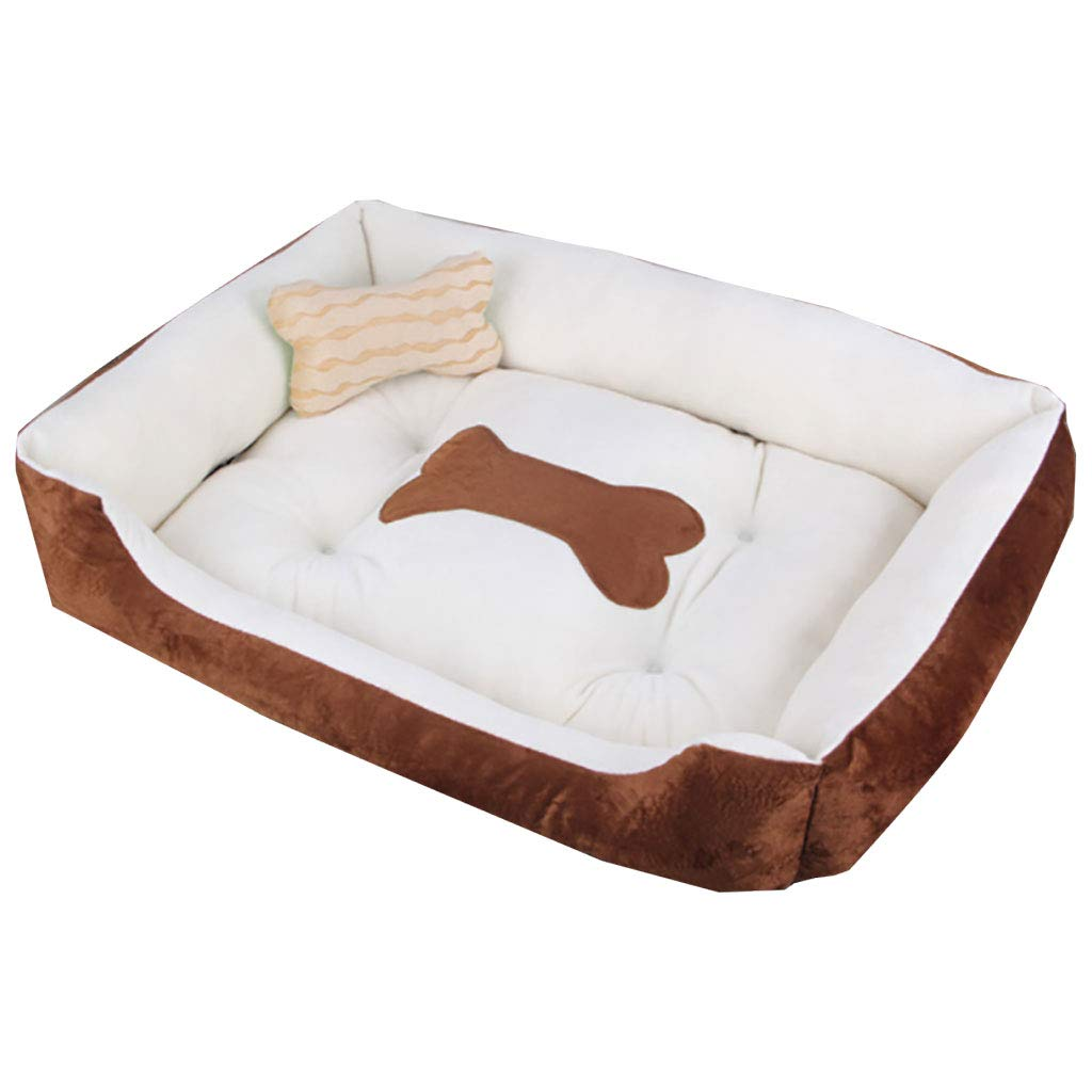 Coffee color S Coffee color S LY-YL006 Quiet dog cushion pillow pillow cat cushion pet mattress soft winter warm nest (color   Coffee color, Size   S)