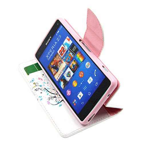 """For Sony Xperia Z3 Compact (4.6 """") , TUTUWEN New Flower and Tree Style Magnetic Closure PU Leather Stand Wallet Case Protective Cover for Sony Xperia Z3 Compact Z3 mini (4.6 """") D5803"""
