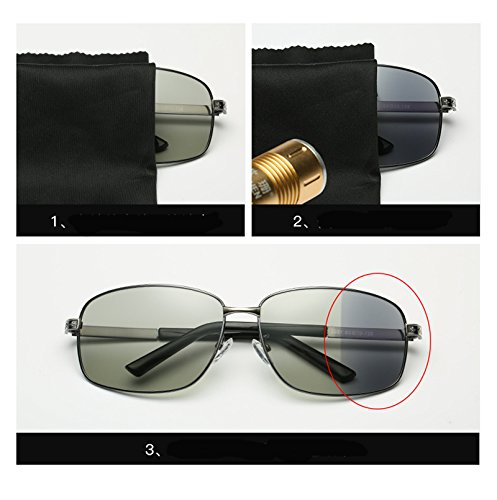 Brand Glasses discolor Use Gun and Lens Night Fauhsto Men Lens Shades for Discoloration Designer Sunglasses Sunglasses Oculos Pilot Sunglasses Frame Men Day Use day Male Driving A Sun Aviator Grey UV400 nRxqPwFf8