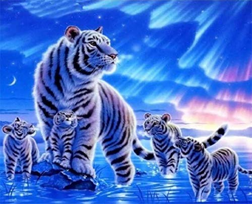 5D DIY Diamond Painting Kit Rhinestone Embroidery Cross Stitch Full Drill Arts for Craft Home Wall Decor Tiger Mother and Babies