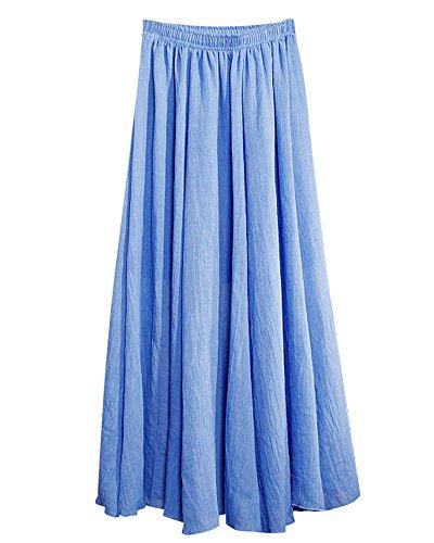 Falda Maxi Larga de Lino Doble Capa Cintura Elástico Estilo Étnico Skirt Para Mujeres Denim Azul