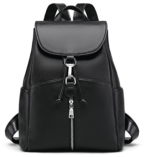 - New Women Real Genuine Leather Backpack Purse vintage SchoolBag by Coolcy (Black)